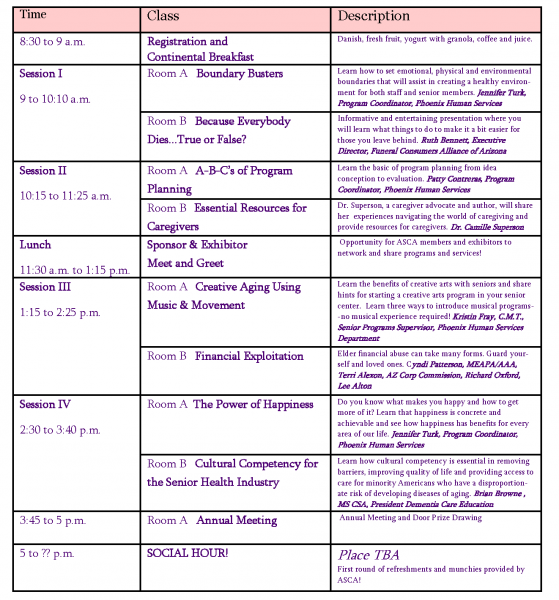 ASCA Workshop Schedule