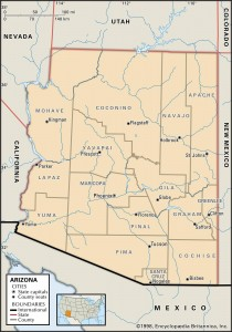 Map of Arizona Counties